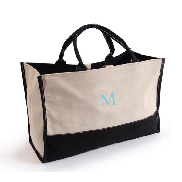 Metro Tote 'em Bag Black with Blue Sky Letter Monogrammed Travel Tote Bag