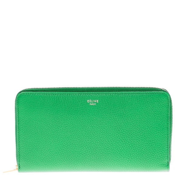 Celine Textured Leather Zip Around Wallet