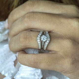 Sterling Silver 1ct Round Cubic Zirconia Wedding Ring and Ring Guard Set