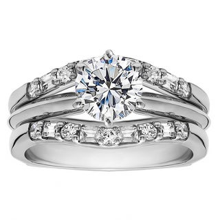 Sterling Silver 1ct Round Cubic Zirconia Solitaire Wedding Ring and Flared Guard Set