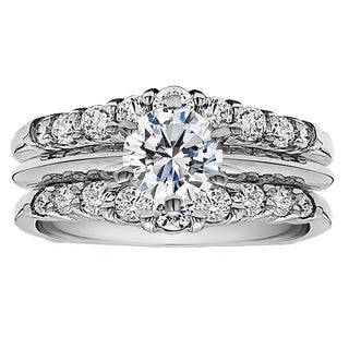 Sterling Silver 1ct Cubic Zirconia Solitaire Wedding Ring and Guard Set