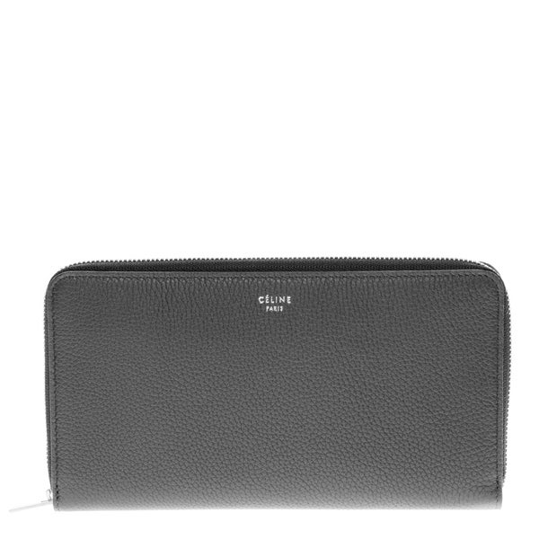 Celine Black Textured Leather Zip Around Wallet
