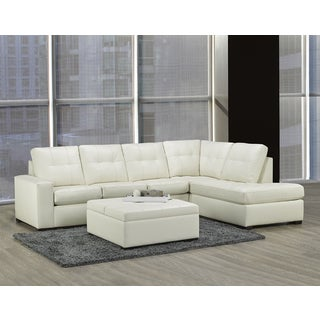 Donald Bonded Leather Tufted Sectional with Matching Storage Ottoman