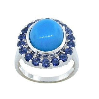 Sterling Silver Sleeping Beauty Turquoise and Iolite Halo Ring