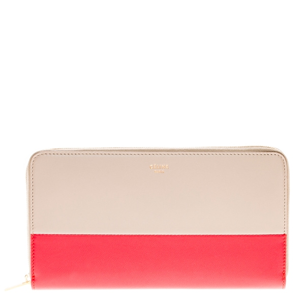 Celine Colorblock Red/ Taupe Continental Wallet