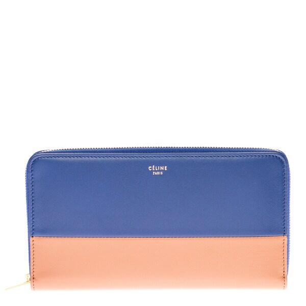 Celine Colorblock Blue/ Brown Continental Wallet