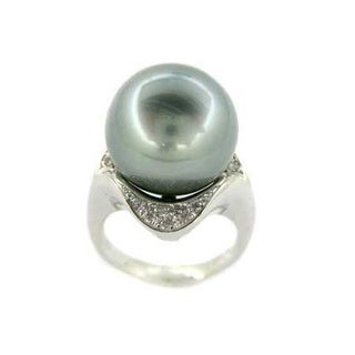 Kabella Luxe Platinum Tahitian Pearl and Diamond Collection Ring (14-15 mm)