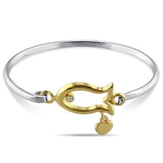Miadora Tone-tone Silver White topaz Children's Fish Bangle Bracelet