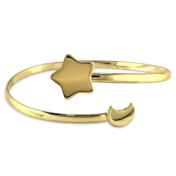 Miadora Yellow Silver Star and Moon Bangle Bracelet