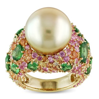 Miadora Signature Collection 14k Yellow Gold South Sea Pearl Multi-gemstone and 1/4ct TDW Diamond Cocktail Ring (G-H, SI1