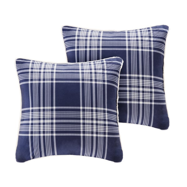 Woolrich Leeds Printed Plaid Softspun to Berber Square Pillow Pair
