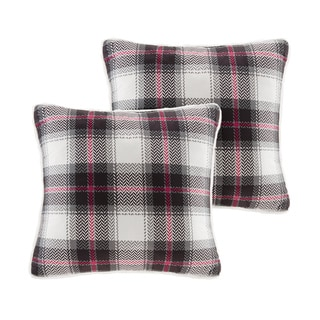 Woolrich Ridley Printed Plaid Softspun to Berber 18x18 Square Pillow Pair