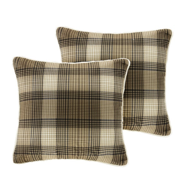 Woolrich Lumberjack Printed Plaid Softspun to Berber Square Pillow Pair