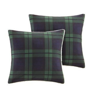 Woolrich Brewster Printed Plaid Softspun to Berber Square Pillow - Set of 2