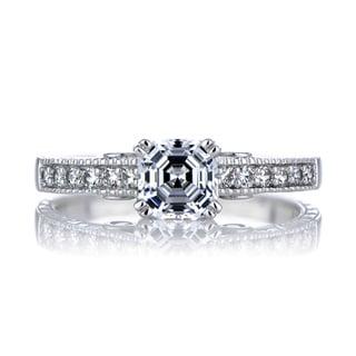Sterling Silver Asscher Cut Heart CZ Engagement Ring