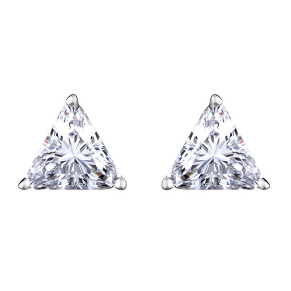 Trillion Cut CZ Stud Earrings