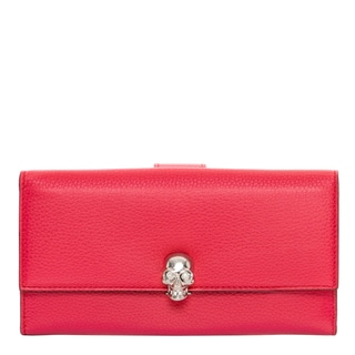 Alexander McQueen Small Pink Grainy Leather Continental Wallet
