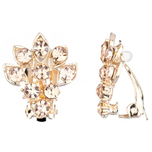 Champagne Rhinestone Cluster Clip On Earrings