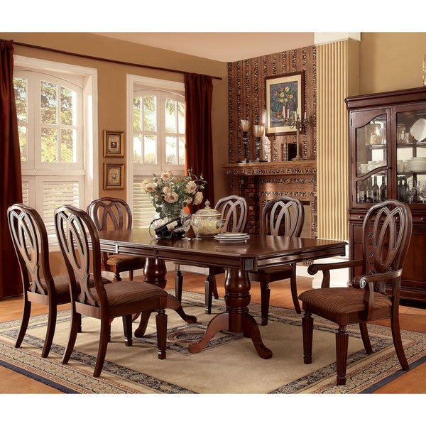 Furniture of america woodrow traditional 7 piece cherry for Furniture of america reviews