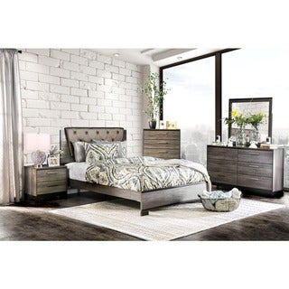 Furniture of America Silvine Contemporary 4-piece Antique Grey Bedroom Set
