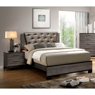 Furniture of America Silvine Contemporary 2-piece Antique Grey Bed and Nightstand Set