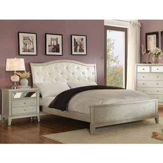 Furniture of America Divenna Modern 2-piece Crocodile Silver Bed and Nightstand Set