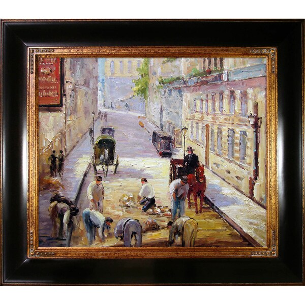 Edouard Manet 'Rue Mosnier with Road Menders' Hand Painted Framed Canvas Art