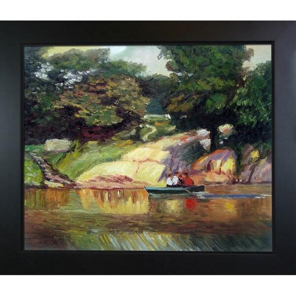 Edward Potthast 'Boating in Central Park' Hand Painted Framed Canvas Art 16264466
