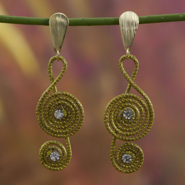Handcrafted Gold Overlay 'Jalapao Melody' Earrings (Brazil)