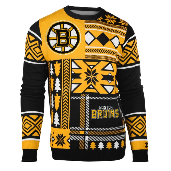 Forever Collectibles Boston Bruins Big Logo Crew Neck Ugly Sweater