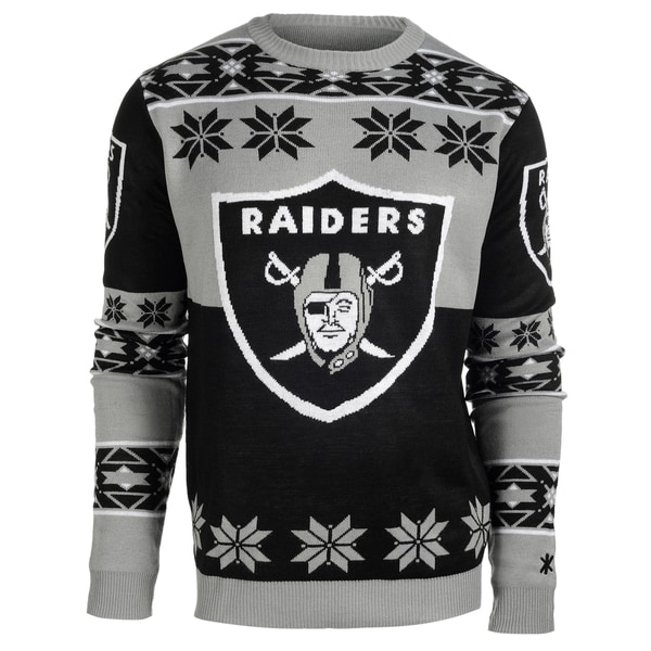 Forever Collectibles Oakland Raiders Big Logo Crew Neck Ugly Sweater