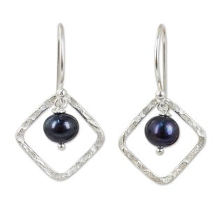 Sterling Silver 'Black Moons' Pearl Earrings (7 mm) (Thailand)