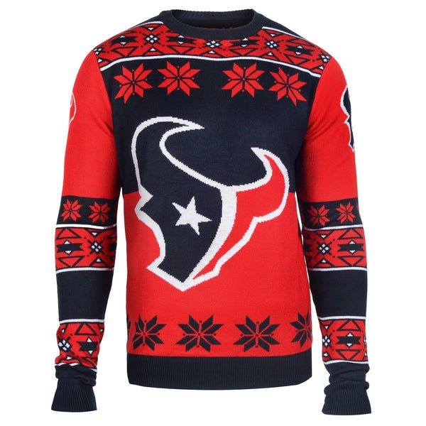Forever Collectibles Houston Texans Big Logo Crew Neck Ugly Sweater