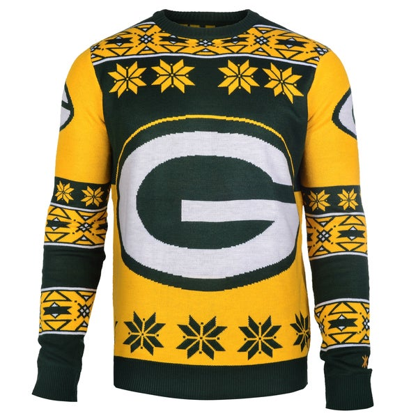 Forever Collectibles Green Bay Packers Big Logo Crew Neck Ugly Sweater