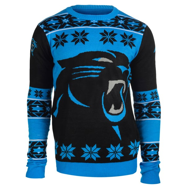 Forever Collectibles Carolina Panthers Big Logo Crew Neck Ugly Sweater