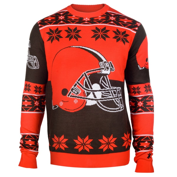 Forever Collectibles Cleveland Browns Big Logo Crew Neck Ugly Sweater