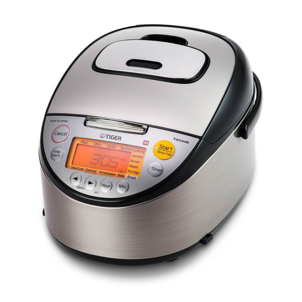 Tiger Corporation JKT-S10U Stainless Steel Black 5.5-Cup Induction Heating Rice Cooker and Warmer + Tacook Plate