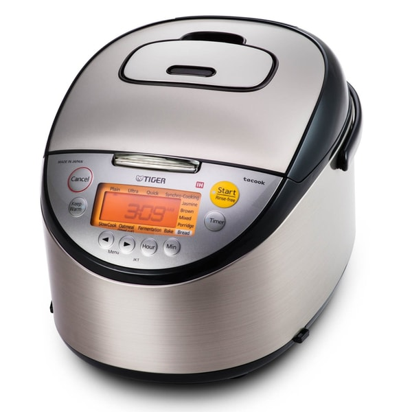 Tiger Corporation JKT-S18U Stainless Steel Black 10-Cup Induction Heating Rice Cooker and Warmer + Tacook Plate