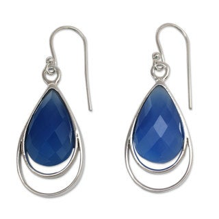 Handcrafted Sterling Silver 'Delhi Glam' Chalcedony Earrings (India)