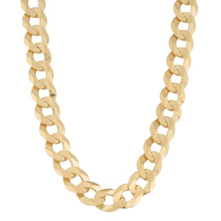 Fremada 14k Yellow Gold 9-mm High Polish Men's Solid Curb Link Necklace