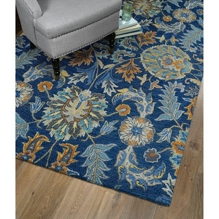 Christopher Agra Blue Hand-Tufted Rug (2'6 x 8'0)