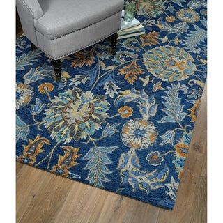 Christopher Agra Blue Hand-Tufted Rug (5'0 x 7'9)
