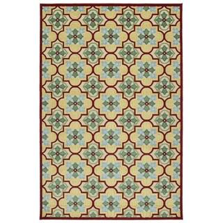 Indoor/Outdoor Luka Gold Tile Rug (3'10 x 5'8)