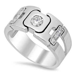 14k White Gold Men's 3/4ct TDW Diamond Ring (F-G, SI1-SI2)