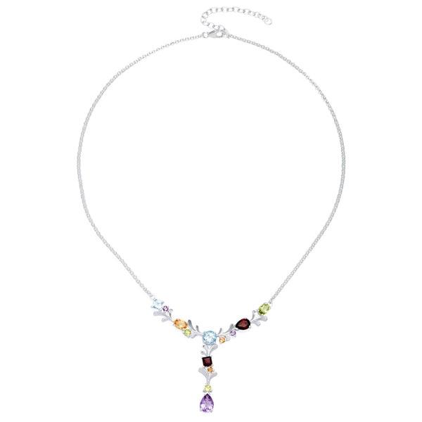 Sterling Silver Multi-gemstone Y Necklace