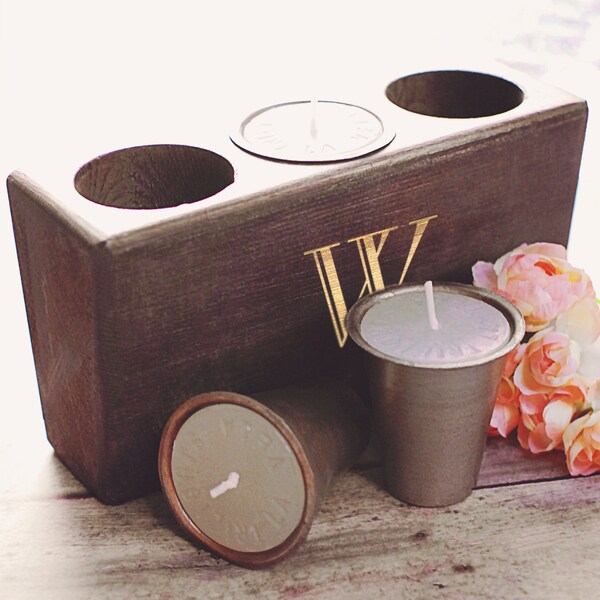 Personalized Rustic Wood Sugar Mold Candle Holder