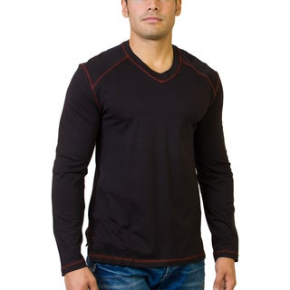 Steven Craig Men's Long Sleeve V-Neck Tee with Contrast Trim
