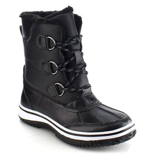 NATURE BREEZE FROST-04 Women's Stitching Lace Up Faux Fur Winter Snow Ankle Boots