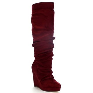Spirit Moda Emma-1 Women's Slouchy Platform Wedge Heel Knee High Boots