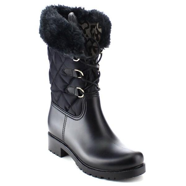NATURE BREEZE STROM-05 Women's Quilt Faux Fur Lace Up Waterproof Snow Boots